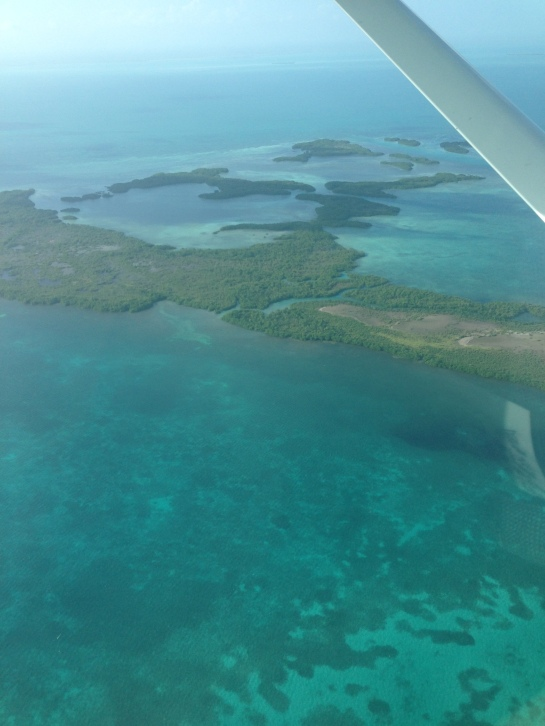 view from the plane flying from Belize City to Ambergris Caye